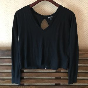 Crop Black Sweater with Keyhole Back with Zipper